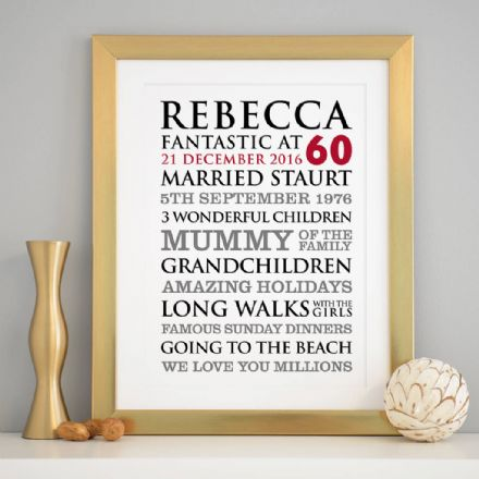 Personalised 60th Birthday Typographic Art Print
